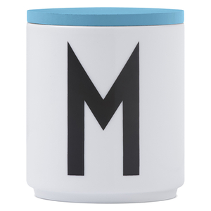 Design Letters Wooden Lid For Porcelain Cup - Turquoise