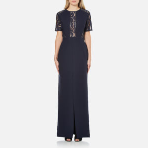 Perseverance Women's Short Sleeve Lace Panel Maxi Dress - Navy