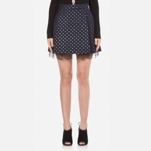 Perseverance Women's Polka Dot Lurex Mini Skirt with Lace Hem Detail - Navy