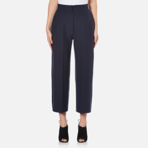Perseverance Women's Heavy Crepe Straight Fit Crop Trousers - Navy