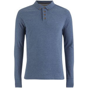 Brave Soul Men's Lincoln Long Sleeve Polo Shirt - Vintage Blue Marl