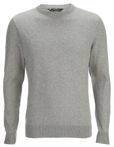 Kensington Eastside Men's Henriks Cotton Crew Neck Jumper - Light Grey Marl