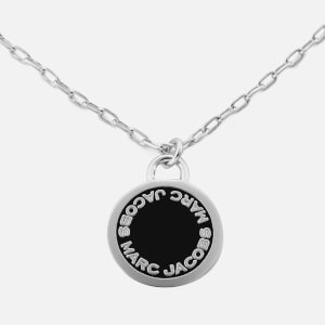 Marc Jacobs Women's Enamel Logo Disc Pendant Necklace - Black/Argento