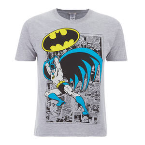 DC Comics Herren Batman Comic Strip T-Shirt - Grau