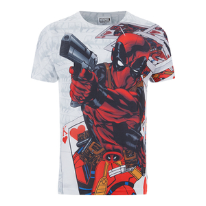 Marvel Men's Deadpool Cards T-Shirt - White