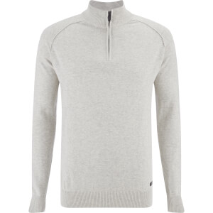 Threadbare Men's Annakin Quarter Zip Funnel Neck Knitted Jumper - Oatmeal Marl