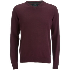 Threadbare Men's Bleak Cotton V-Neck Jumper - Burgundy