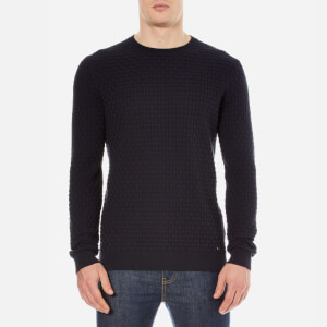 HUGO Men's Subon Textured Knitted Jumper - Navy