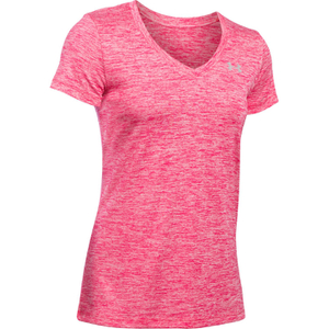Under Armour Women's Twist Tech V Neck T-Shirt - Knock Out/Metallic Silver