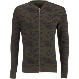 Brave Soul Men's Marine Jersey Camo Bomber Jacket - Khaki