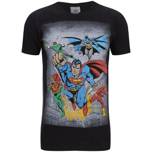 DC Comics Men's Superhero Flying T-Shirt - Schwarz