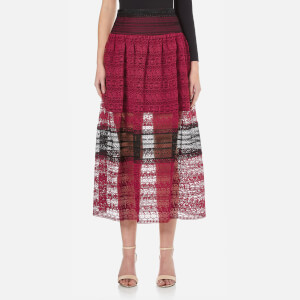 Three Floor Women's Summer Sunset Floral Lace Skirt - Damson Plum/Black