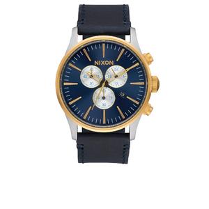 Nixon The Sentry Chrono Leather Watch - Gold/Blue Sunray