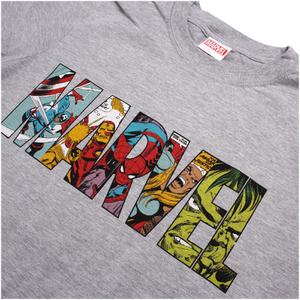 Marvel Men's Comic Strip Logo T-Shirt - Sports Grey: Image 3