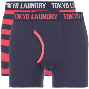 Tokyo Laundry Men's Deptford 2 Pack Stripe Boxers - Midnight/Pink