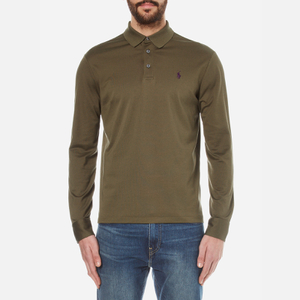 Polo Ralph Lauren Men's Long Sleeved Mercerized Mesh Polo Shirt - Defender Green