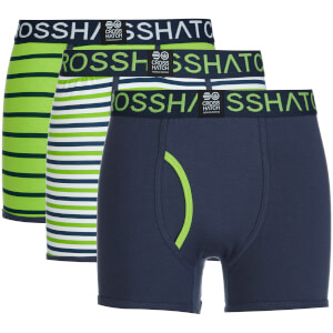 Crosshatch Men's 3 Pack All Sync Striped Boxers - Mood Indigo/Jasmine Green