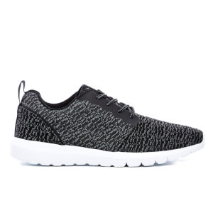 Crosshatch Mens Telson Knit Low Top Trainers - Black - UK 7