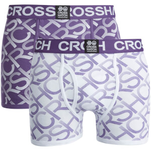 Crosshatch Men's Equalizer 2-Pack Boxers - Purple Rain/White