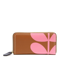 Orla Kiely Women's Stem Print Leather Big Zip Wallet - Hazel