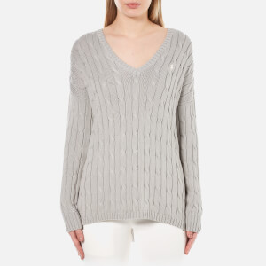 Polo Ralph Lauren Women's V Neck Side Slit Jumper - Oxford Grey