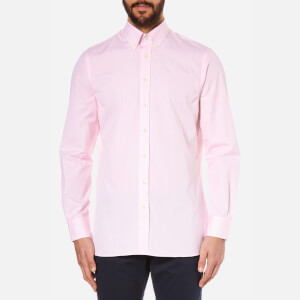 Hackett London Men's Classic Fine Stripe Long Sleeve Shirt - White/Pink
