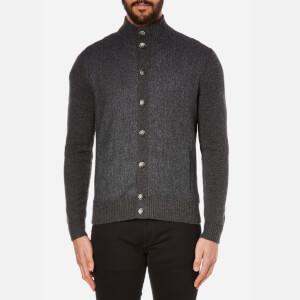 Hackett London Men's Tweed Front Cardigan - Charcoal