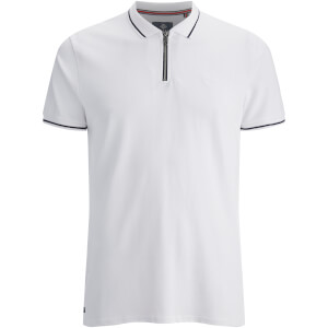 Threadbare Men's Redcar Short Sleeve Zip Polo Shirt - White