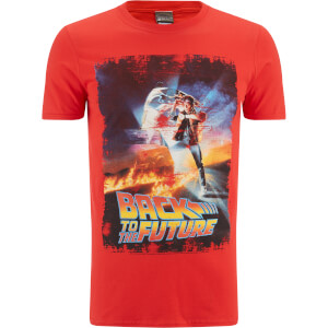 Back to the Future Men's Distressed Poster T-Shirt - Red: Image 1