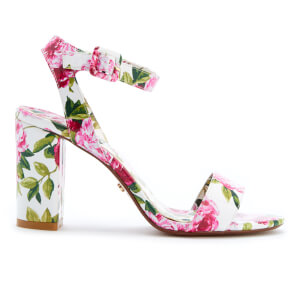 Dune Women's Marygold Peony Printed Patent Block Heeled Sandals - White