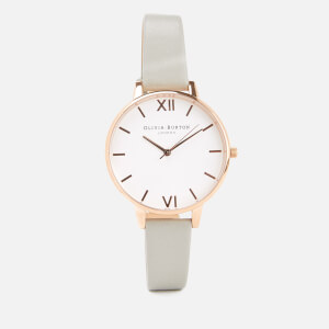 Olivia Burton Women's Big White Dial Watch - Grey/Rose Gold