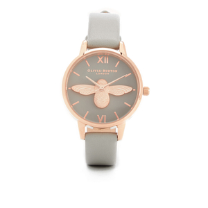 Olivia Burton Women's Moulded Bee Watch - Grey & Rose Gold