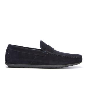 HUGO Men's Dandy Suede Driving Shoes - Dark Blue