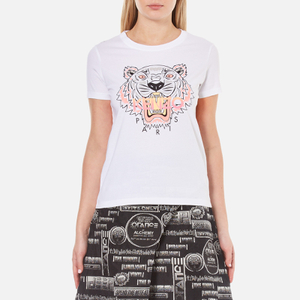 KENZO Women's Printed Tiger On Cotton Single Jersey T-Shirt - White