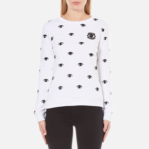 KENZO Women's Allover Eyes Light Cotton Molleton Sweatshirt - White