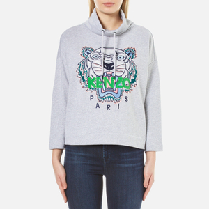 KENZO Women's Embroidered Tiger On Light Cotton Molleton Cowl Neck Sweatshirt - Pale Grey
