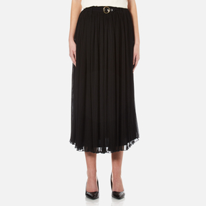 KENZO Women's Pleated Poly Chiffon Midi Skirt - Black
