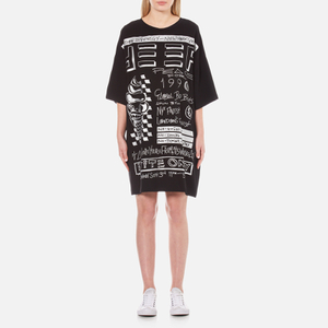 KENZO Women's Crepe Back Satin Flyer Print T-Shirt Dress - Black