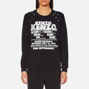 KENZO Women's Light Brushed Molleton Lace Tie Glitter Sweatshirt - Black