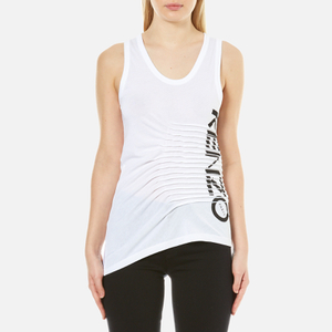 KENZO Women's Pleated Cotton Single Blend Tank Top - White