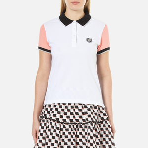 KENZO Women's Colour Blocked Pique Polo T-Shirt - White
