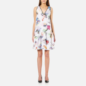 KENZO Women's Visage Silk Crepe De Chine Dress - White