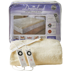 Dreamland 16297 Sleepwell Intelliheat Soft Fleece Fitted Electric Under Blanket - Cream - Double Dual