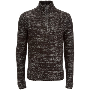 Kensington Eastside Men's Stepan Half Zip Twist Jumper - Jet Black