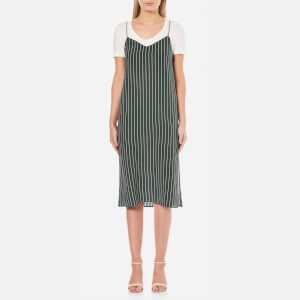 Ganni Women's Elmira Silk Stripe Slip Dress - Pine Grove Stripe