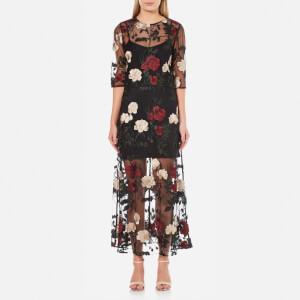 Ganni Women's Simmons Floral Sheer Dress - Black