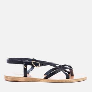 Ancient Greek Sandals Women's Semele Multi Strap Flat Vachetta Leather Sandals - Marine