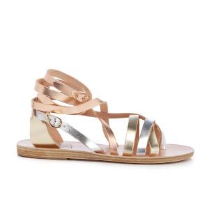 Ancient Greek Sandals Women's Satira Multi Strap Vachetta Leather Gladiator Sandals - Pink Metal/Silver/Platinum