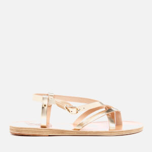 Ancient Greek Sandals Women's Semele Multi Strap Flat Vachetta Leather Sandals - Platinum