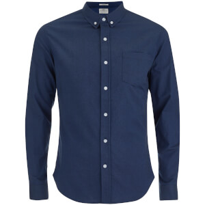 Crosshatch Herren Almond Long Sleeve Shirt - Navy